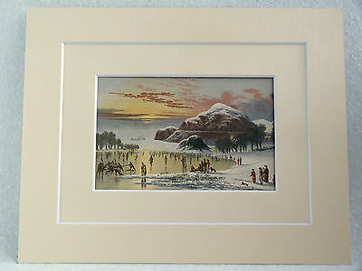 Duddingston Loch Curling Superb Quality Antique Double Mounted Chromo Print 1882