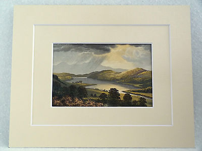 Loch Fad Isle Of Bute Superb Quality Antique Double Mounted Chromo Print 1882