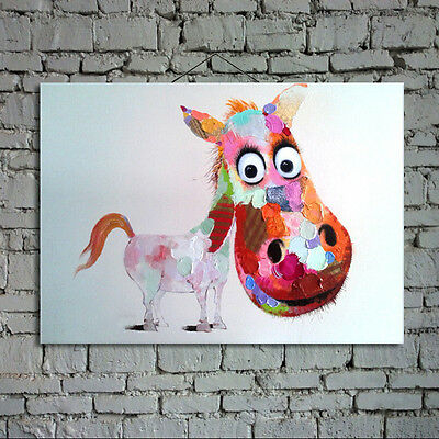 Hand-painted abstract art cartoon funny horse oil painting on canvas home decor