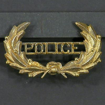 Vintage Obsolete Brass Plated Laurel Wreath POLICE Cap Hat Badge with screw post
