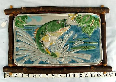 """USA-Made 10x14"""" Hanging Stoneware Tile With Largemouth Bass Jumping Out of Water"""