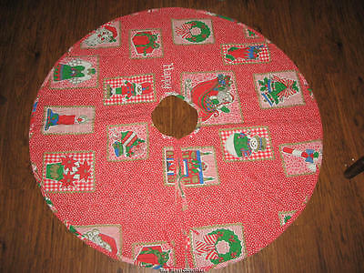 Vintage Quilted Country Gingham Snowman  Angel Stars Christmas Tree Skirt 42""