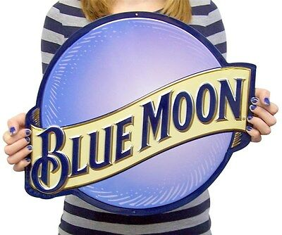 ONE BLUE MOON BEER SIGN DENVER COLORADO W//  RAISED LETTERING *