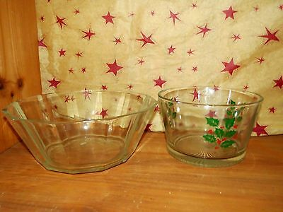 INDIANA Holly Berry Days  Glass CANDY DISH  NUT BOWL + FREE BOWL Lenox Mikasa ?