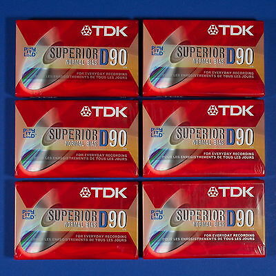 6 NEW SEALED TDK D90 Superior Normal Bias IEC Type 1 Blank Audio Cassette Tapes