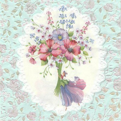 2 serviettes en papier gaufrées Bouquet fleurs Paper Napkins Brunch of flowers