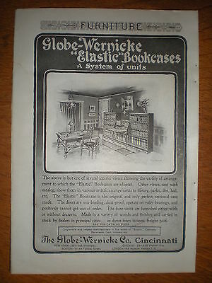 1903 GLOBE WERNICKE a System of Units ELASTIC BOOKCASES Illus Home Library AD