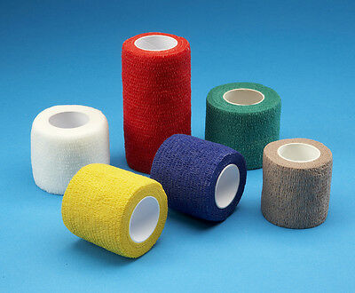 12 x Multi Coloured Pack of Cohesive Bandages 7.5cm x 4.5m Sports / Equine Tape