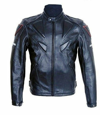 Men Black PU Leather Jacket Motorcycle Racing Armor Protective Riding Clothes