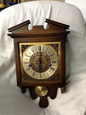 HAMILTON WALL CLOCK PENDULUM, MINSTER CHIME WEST GERMANY WITH KEY WORKS