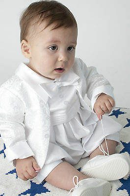 Baby Boys Christening Outfit Christening Suit Christening Romper Paisley White