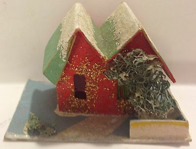 VINTAGE SMALL CARDBOARD RED CHRISTMAS VILLAGE HOUSE - JAPAN