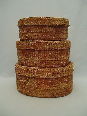 Vintage Woven Sweet Grass Baskets w lids Nesting Set of 3 Oval Reddish