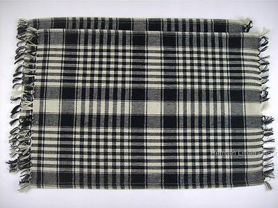 "Richmond Black and Cream Plaid Cotton Placemats Set of 2 Rectangular 13"" x 19"""