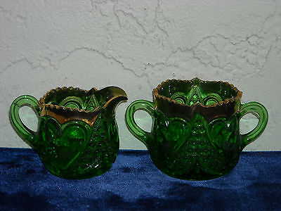 EAPG Heart with Thumbprint Individual Creamer and Sugar  Green