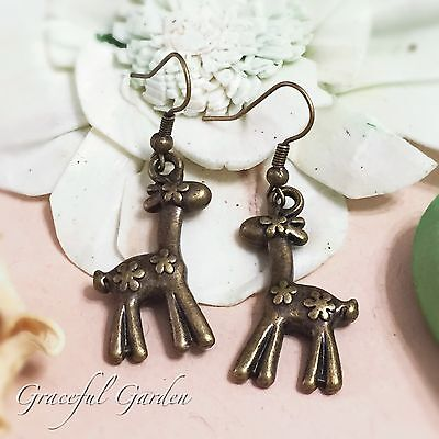ER2802 Graceful Garden Vintage Style Bronze Tone Flowered Deer Dangle Earrings