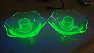 Pair of 3 Toed/Footed Green Depression Uranium Vaseline Glass Candleholders