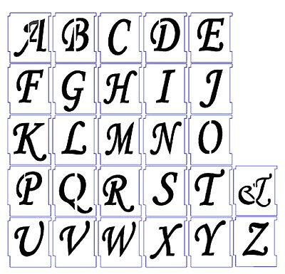 ALPHABET STENCILS AIRBRUSH STENCILS LETTER TEMPLATES 75mm 3'' A-Z Wedding Script