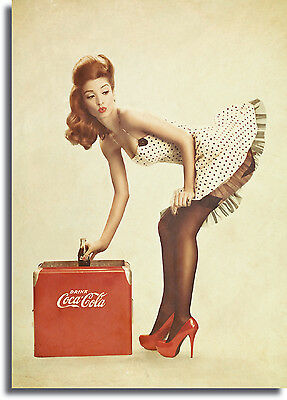 # 4 A3//A4 Size DANGEROUS CURVES AHEAD POSTER  Pin Up Girl Car Vintage