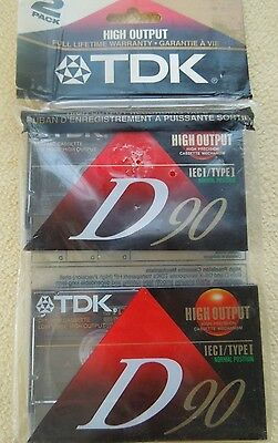 Lot of 2 TDK D90 Cassettes High Output IECI Type 1 Blank Tapes Record New Japan