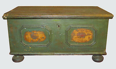 Early 18Th Century Sea Chest In Wonderful Original Green Paint  Decoration