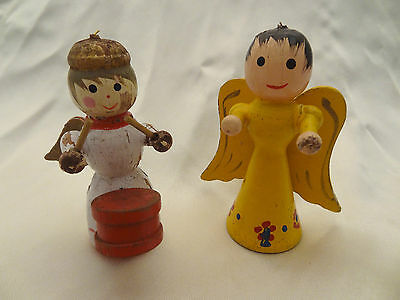 SET OF TWO ANTIQUE - VINTAGE HAND PAINTED WOODEN ANGEL CHRISTMAS ORNAMENTS