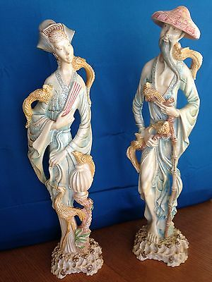 Norleans Asian Couple Sculpture Figurine Birds Japanese Made in Italy 18 1/2 ""