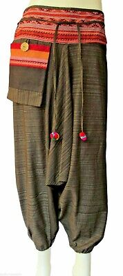 Mens / Womens Hippie Gypsy  Hmong Genie Hammer Baggy Harem Pants Trousers /Brown