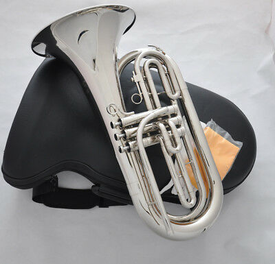 Professional Marching Baritone Horn Silver Nickel Tuba Horn NEW case