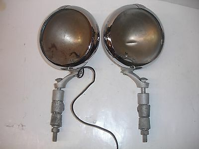2 Vintage Unity Mfg. Co. Model F1 Fog Driving Lights With Mounting Brackets