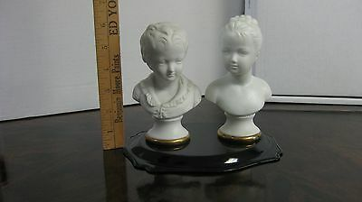 Vintage German pair parian busts: boy and girl (perfect condition)