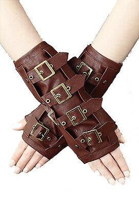 Brown STEAMPUNK ARMWARMERS with BUCKLES by Restyle.