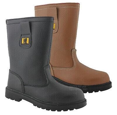 Mens Rigger Fur Lined Safety Steel Toe Cap Ladies Work Boots Shoe Wellingtons Sz