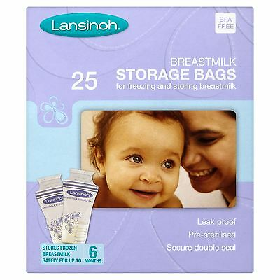 Lansinoh Pre-Sterilised Breastmilk Baby Breast Milk Storage Bags Pouches 25 Pack