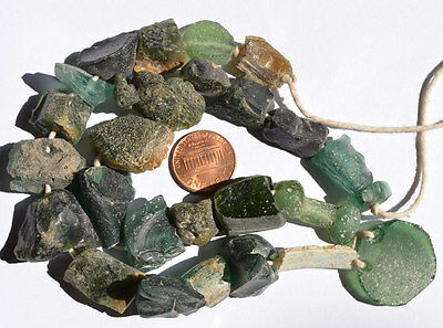 Ancient Roman Glass Fragment Beads 1 Big Strand Aqua Green 100-200 Bc 0132