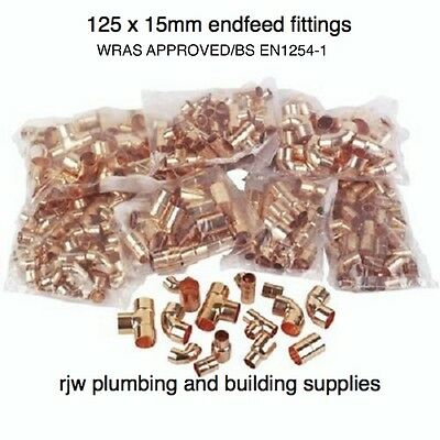 125 X 15Mm Copper End Feed Mixed Fittings Pack Job Lot Plumbing/diy/copper Pipe