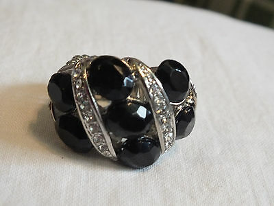 Silver Tone Cocktail Ring Stretch Chunky  Black Clear Rhinestones NICE