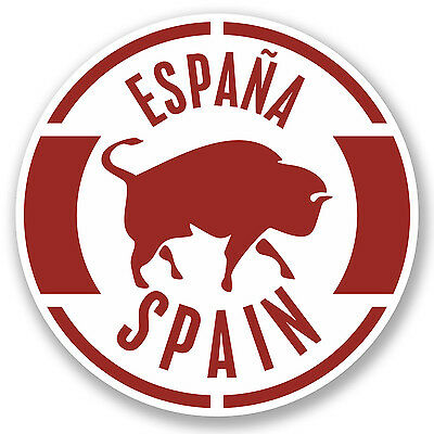 2 x 10cm Spain Vinyl Sticker iPad Laptop Travel Luggage Tag Espana Bull #4894