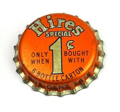 "Hires Soda Kronkorken USA 1950er Bottle caps Orange ""Only 1¢"""