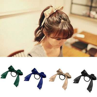 Hot Women's Satin Ribbon Bow Hair Band Rope Scrunchie Ponytail Holder 9 Colors