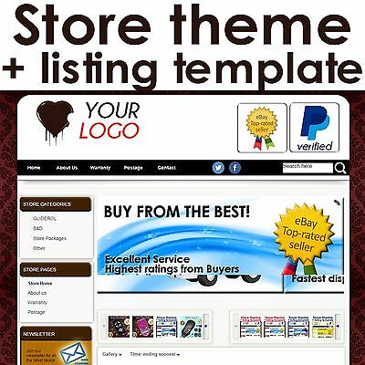 EBAY STORE THEME & LISTING TEMPLATE - FREE INSTALL-Comtemporary CHOCOLATE Design