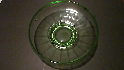 Green Uranium Depression Glass Footed Candy Bowl