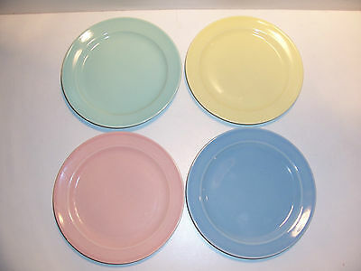 """Vintage Lu-ray Pastels 6 3/8"""" to 6 1/4""""Plates Set of Four T.S.&T."""