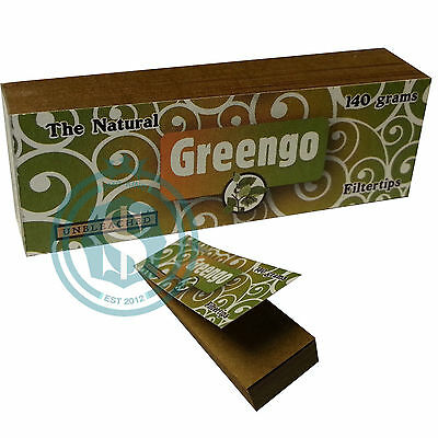Greengo Unbleached Natural Card Rolling Paper Tips Roach - Choose Quantity