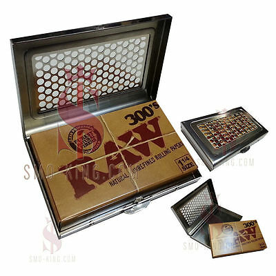 RAW 300'S Metal Shredder Case - Natural Unrefined Rolling Papers #ItsHowWeRoll