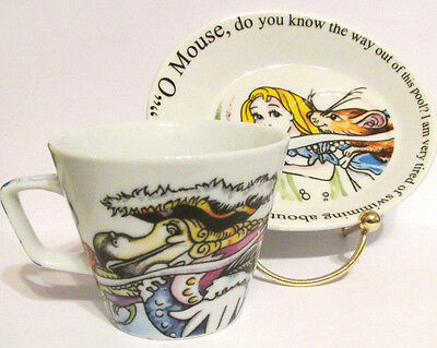 "Paul Cardew Alice in Wonderland ""O Mouse..."" Tea Cup & Biscuit Saucer"