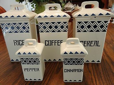 STAFFLE~GERMANY BLUE & WHITE 3 CANISTER SET W/CINNAMON & PEPPER SHAKERS ~ VGC