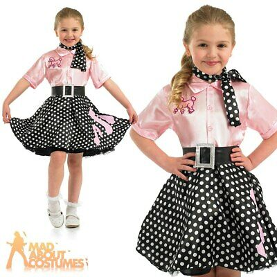 Girls Rock n Roll Costume Child 50s Poodle Hop Fancy Dress Outfit Polka Skirt
