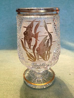 """Excellent Marked Moser 8"""" Crystal Chipped Ice Gold Angel Fish Vase"""