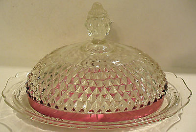 Clear And Cranberry Glass Butter Dish W/diamond Design